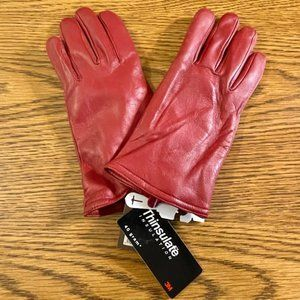NWT Merona Women's Genuine Leather Gloves in Red